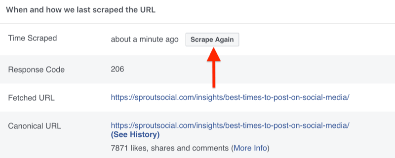 step by step walkthrough for how to clear the cache using the Facebook Sharing Debugger