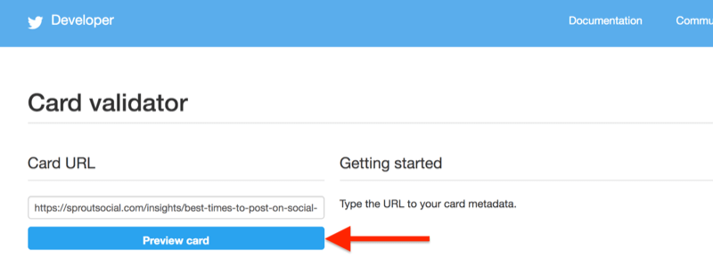 step by step walkthrough for how to clear the cache using the Twitter Validator