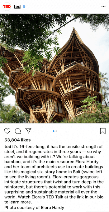 example of Instagram business post caption using storytelling technique
