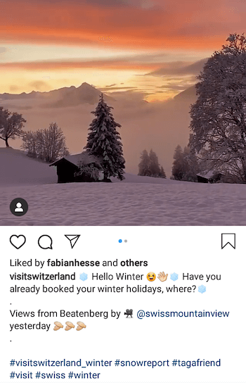 example of Instagram business post using tagafriend hashtag