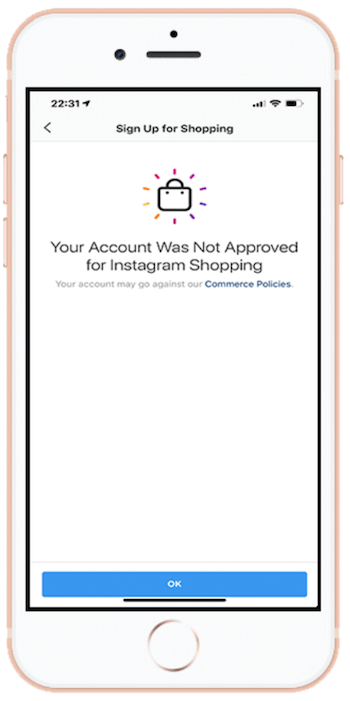 Your Account Was Not Approved for Instagram Shopping message