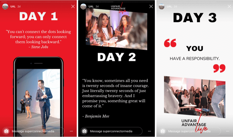 example of title slide for Instagram story about live event