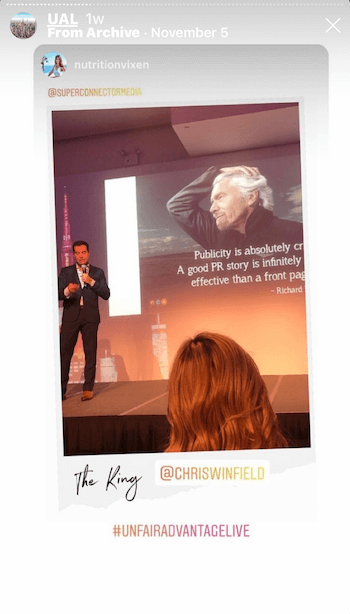 example of Instagram story with user-generated content from live event