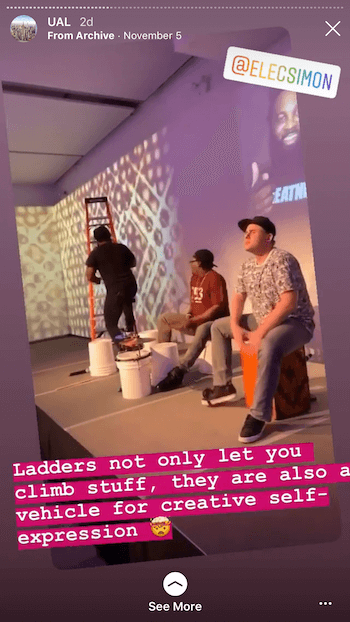 example of Instagram story with live event footage