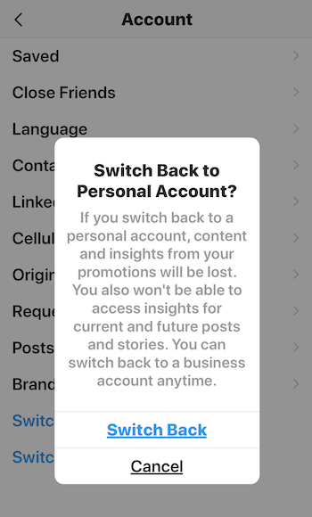 Switch Back to Personal Account? warning message for Instagram