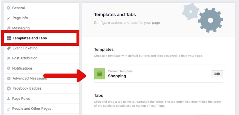 how to change Facebook page to Shopping template in Settings