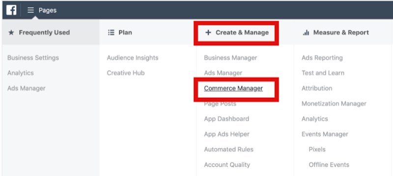 step 1 of how to setup Commerce Manager in Facebook Business Manager