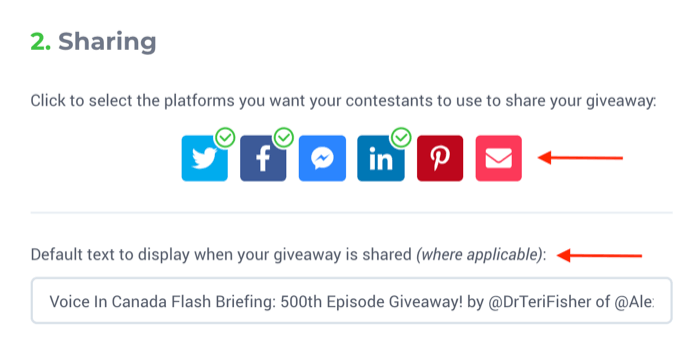 steps to set up giveaway with KingSumo