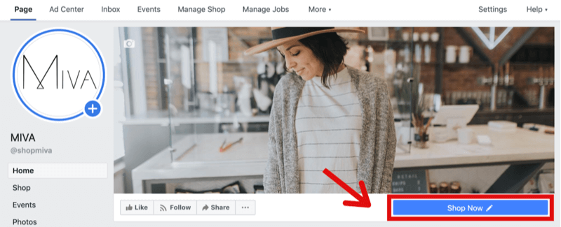 example of Facebook page with Shop Now button