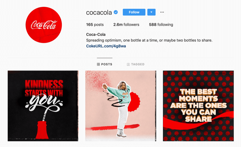 Instagram profile for Coca-Cola