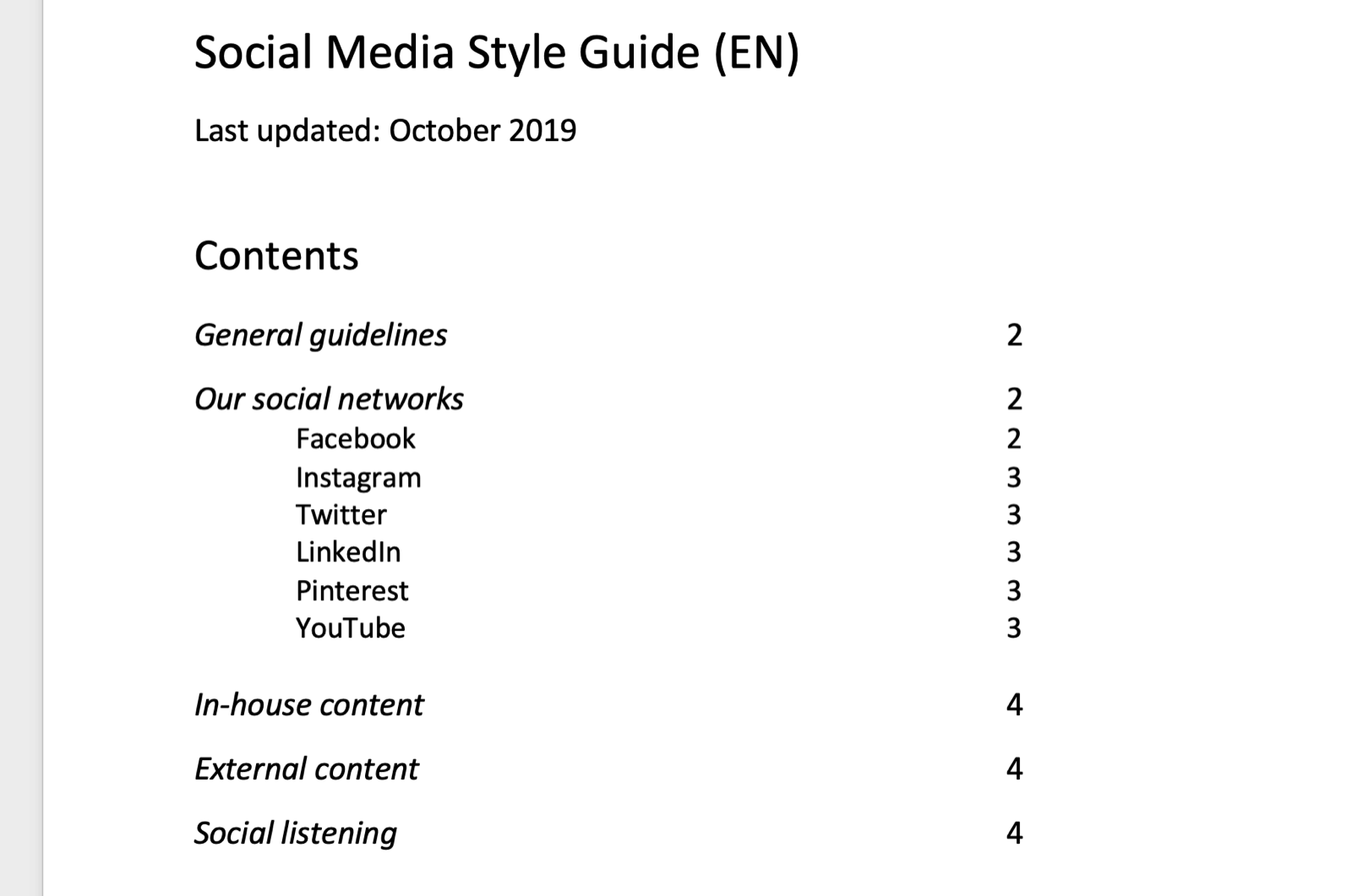 screenshot of social media style guide table of contents