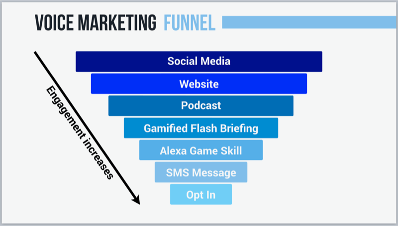 graphic showing voice marketing funnel
