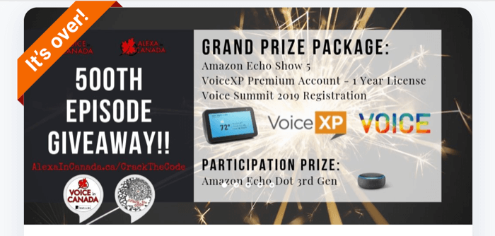 example of prize package for voice marketing funnel giveaway
