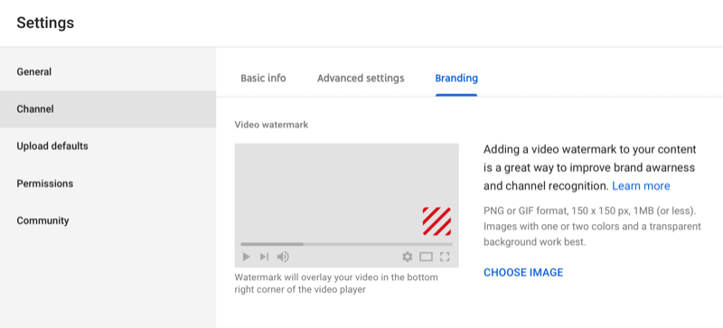 dialog box for adding watermark to YouTube video