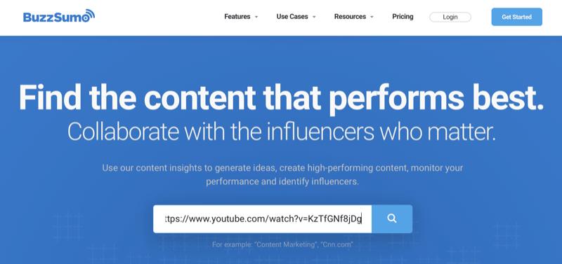 analyseer YouTube-video met BuzzSumo