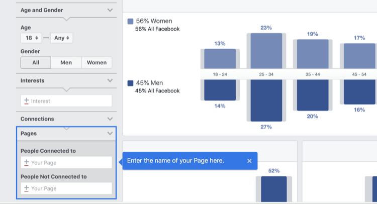 step 1 of how to analyze Facebook Audience Insights for Facebook page