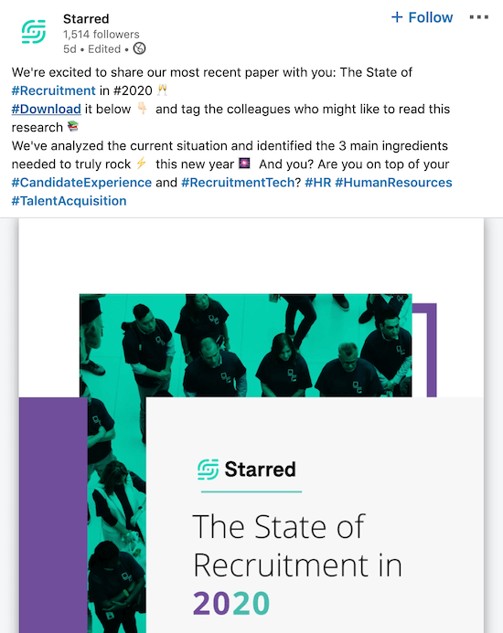 LinkedIn company page post from Starred sharing branded white paper