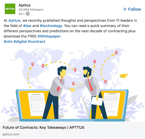 LinkedIn company page post from Apttus sharing branded white paper