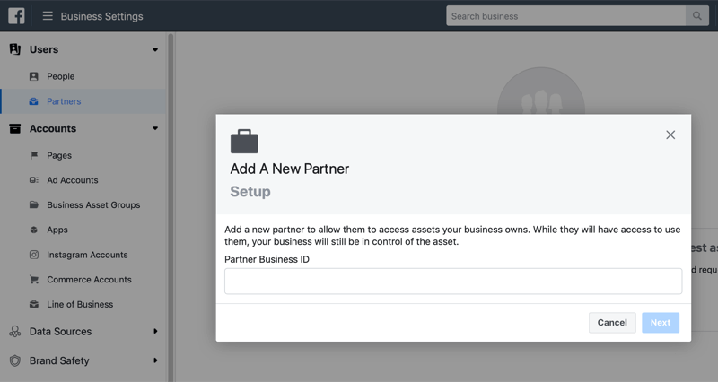 add a new partner in Facebook Business Manager