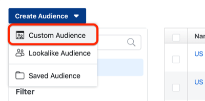 step 1 of how to create Facebook custom audience