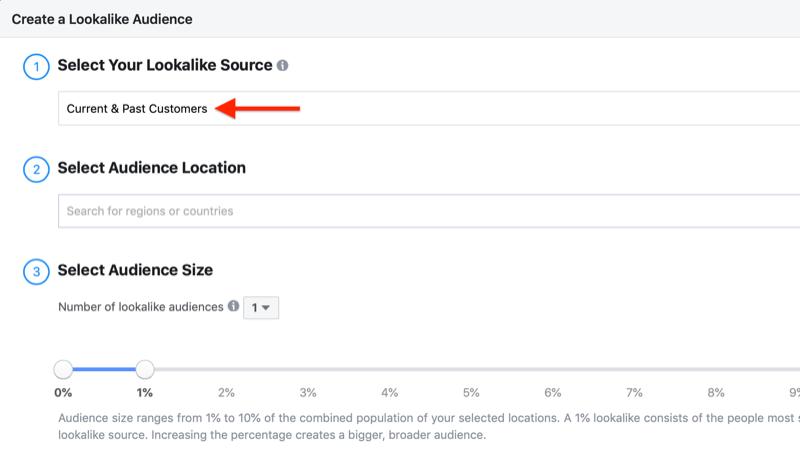 create Facebook lookalike audience based on customer list