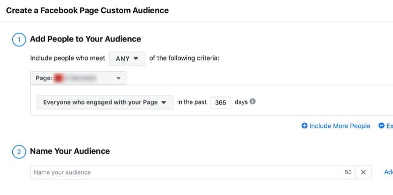 create Facebook page engagement custom audience