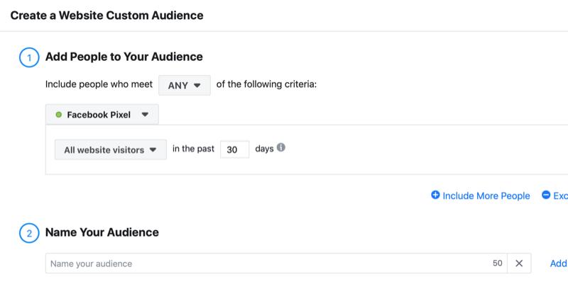 create Facebook website custom audience