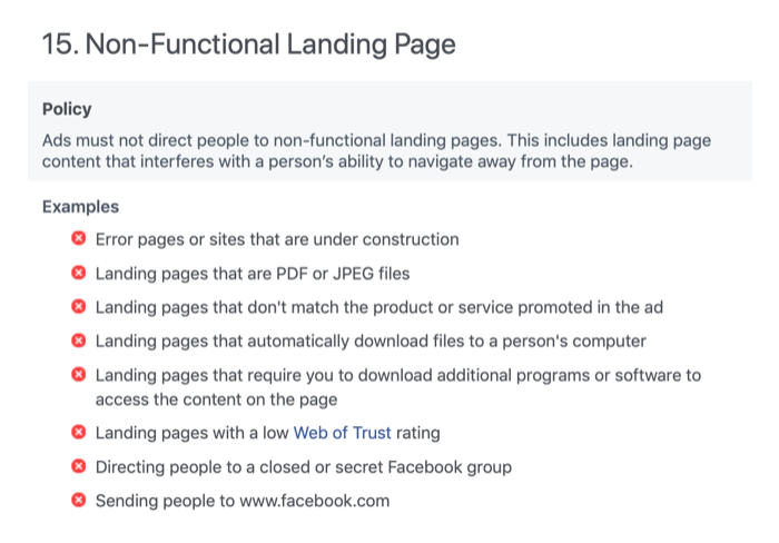Non-Functional Landing Page section of Facebook Advertising Policies