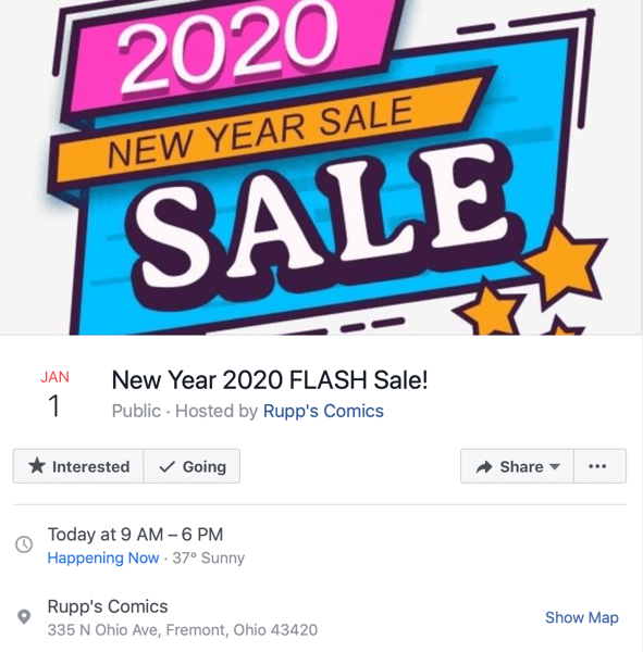 example of Facebook event for flash sale