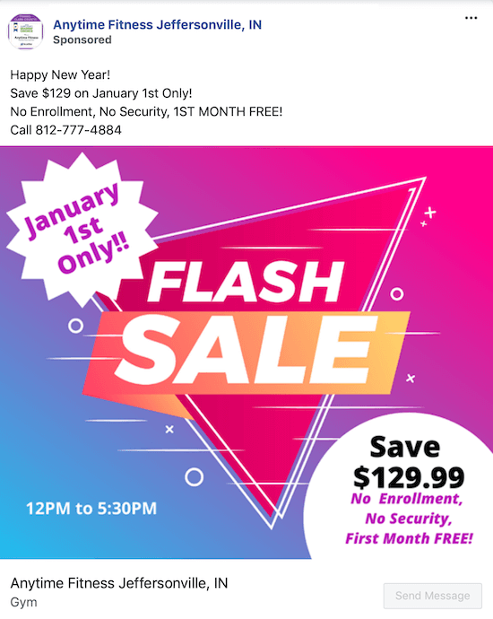 example of Facebook ad for flash sale