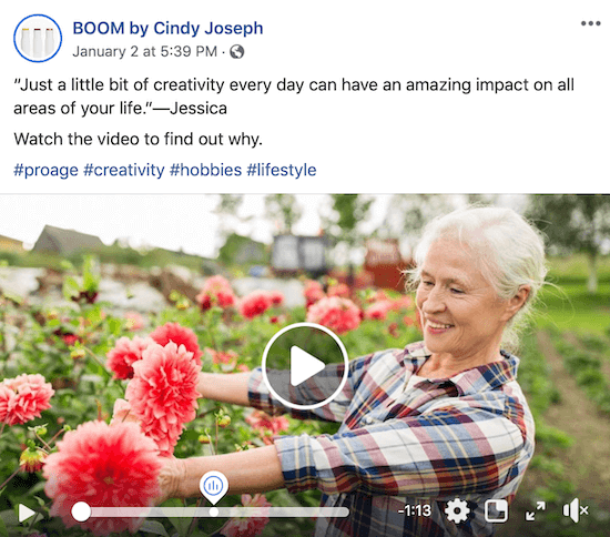 Facebook video post for BOOM! by Cindy Joseph