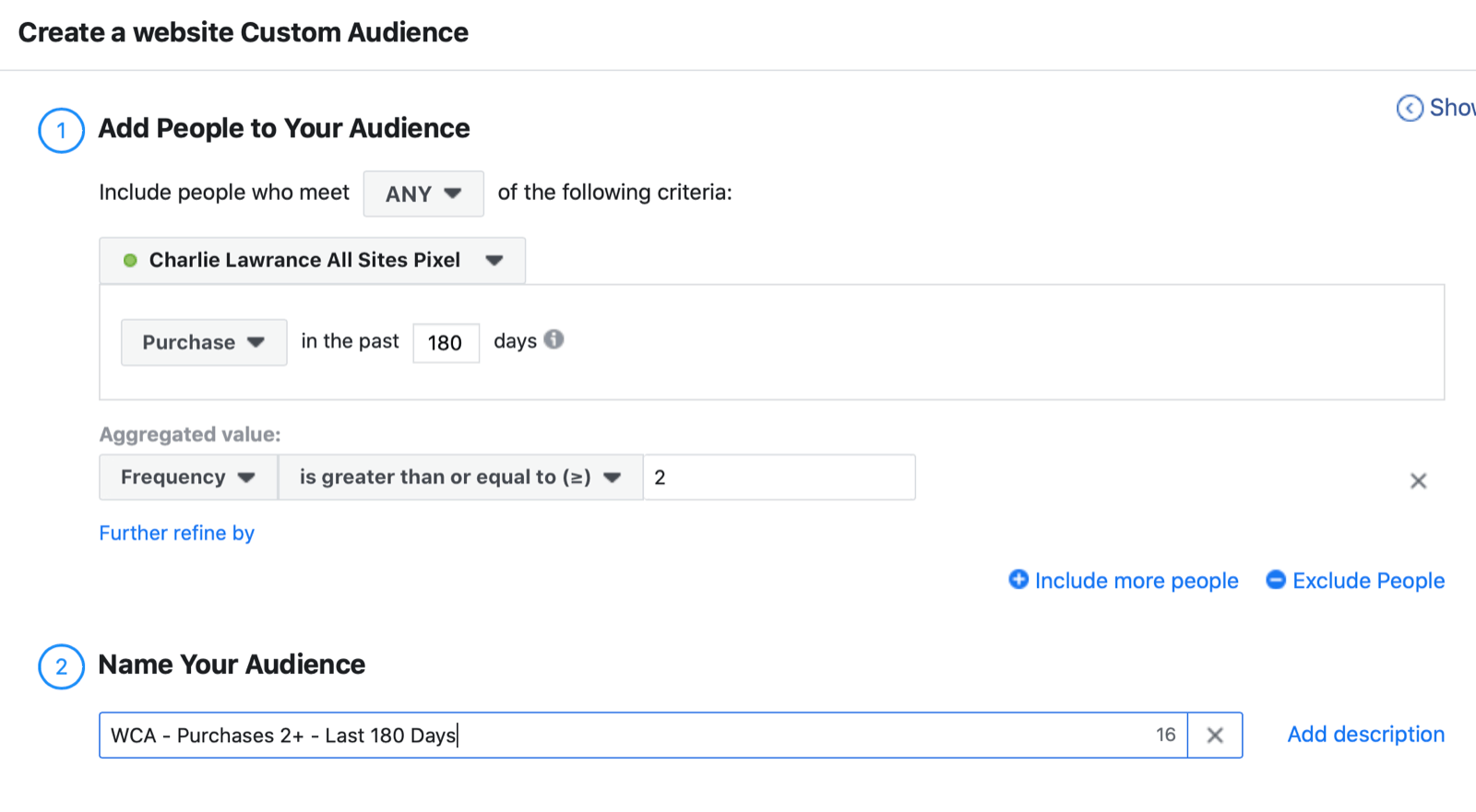 Lookalike Audience Built From People Who Have Purchased at Least Twice