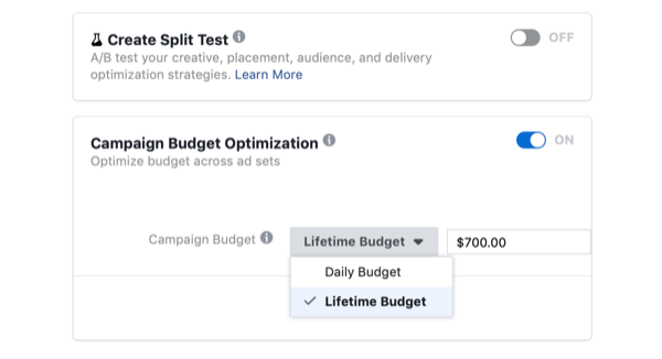 selecting Campaign Budget Optimization and Lifetime Budget for Facebook campaign on day of flash sale