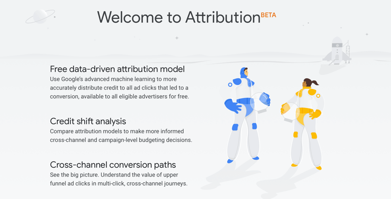 Google Analytics Attribution Beta page