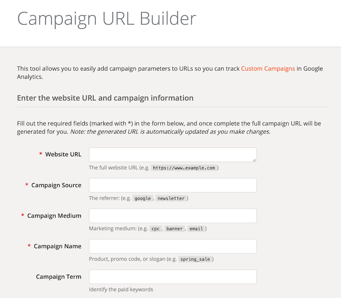Google Analytics Campaign URL Builder form fields
