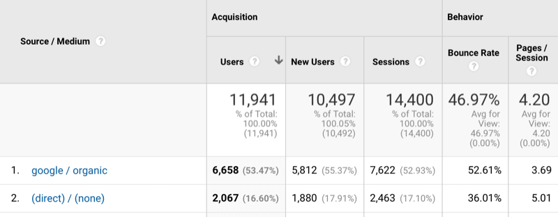 Google Analytics Source/Medium report showing direct traffic