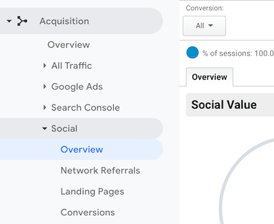 navigation menu in Google Analytics with Social > Overview selected