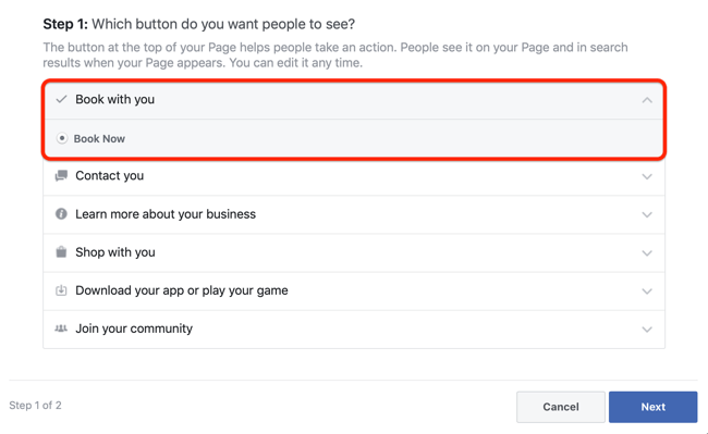step 1 of how to add appointments CTA to Facebook page