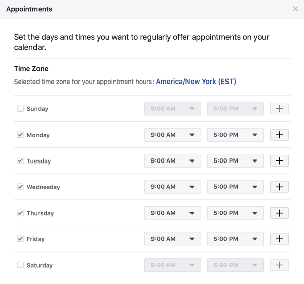 step 2 of how to add appointments CTA to Facebook page