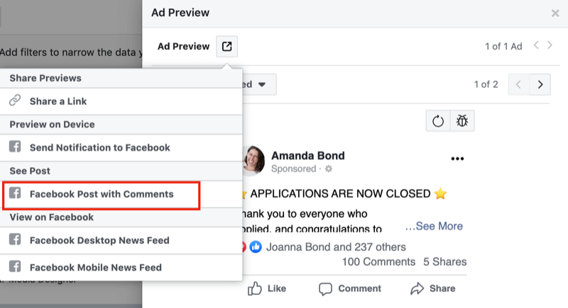 step 1 of how to review negative feedback for Facebook ads