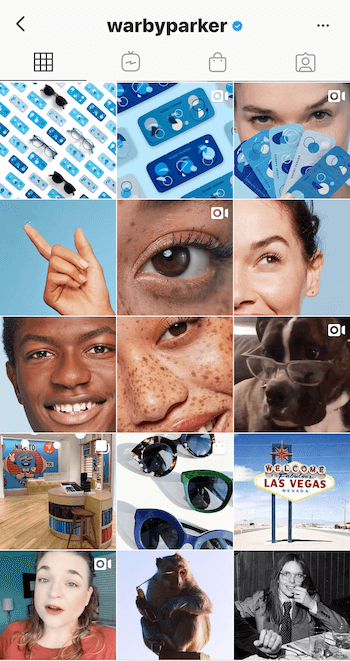 Instagram business profile for Warby Parker