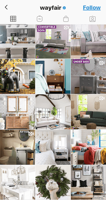 Instagram business profile for Wayfair