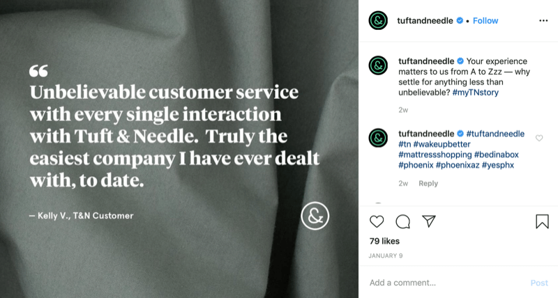 customer quote graphic from Tuft and Needle Instagram account