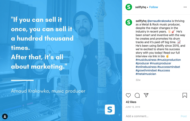 customer quote graphic from Sellfy Instagram account