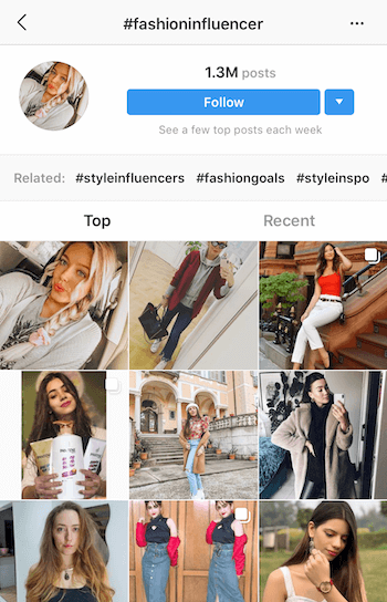 Instagram hashtag search for potential influencers to partner with