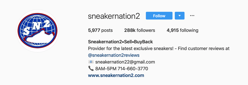 primary Instagram account for SneakerNation2