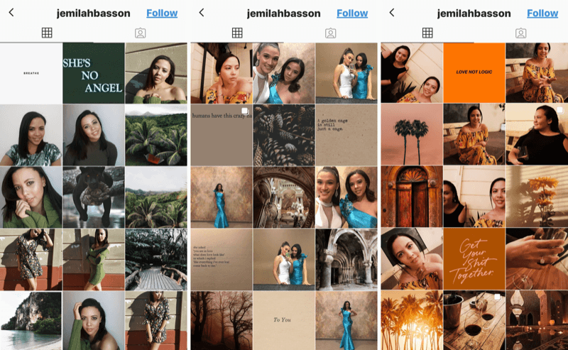Instagram business profile for Jemilah Basson
