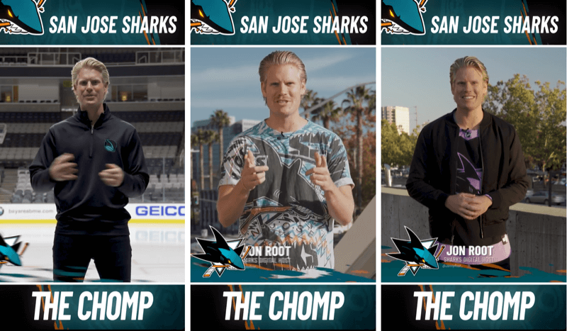three Instagram Stories posts from San Jose Shark's The Chomp segment