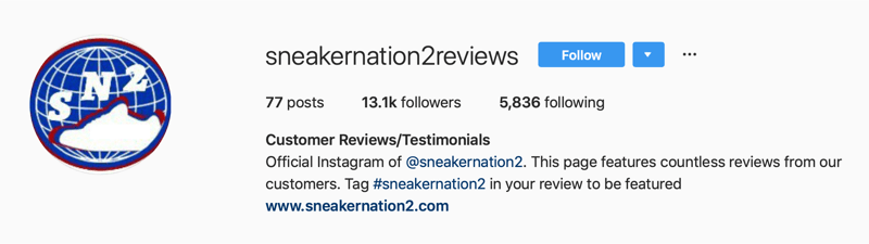 secondary Instagram account for SneakerNation2 reviews