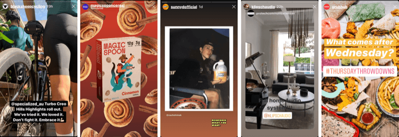 five Instagram Stories posts from brands